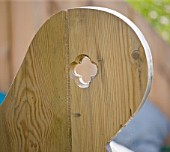 DESIGNER CLARE MATTHEWS - DECKING PROJECT - THE THRONE - DETAIL OF ARM OF DECK SEAT SET INTO HILLSIDE