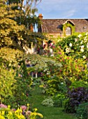ANDRE EVE GARDEN  FRANCE - VIEW BACK TO THE HOUSE WITH CORNUS CONTROVERSA VARIEGATA AND ROSA CERISE BOUQUET