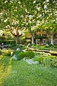 LES CONFINES  PROVENCE  FRANCE - DESIGNER: DOMINIQUE LAFOURCADE - HOUSE WITH PLANE TREES SEEN ACROSS THE WATERLILY POND WITH TIMBER AND IRONWORK STAIRWAY UP TO VIEWING PLATFORM
