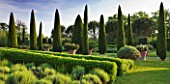 LES CONFINES  PROVENCE  FRANCE - DESIGNER: DOMINIQUE LAFOURCADE - CLIPPED CYPRESSES - CUPRESSUS SEMPERVIRENS  VIBURNUM TINUS  LAVENDERS  ROSEMARY AND BOX
