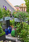 THE BALCONY GARDENER - ISABELLE PALMER - BALCONY FILLED WITH WINDOW BOXES AND CUPOLA BEYOND