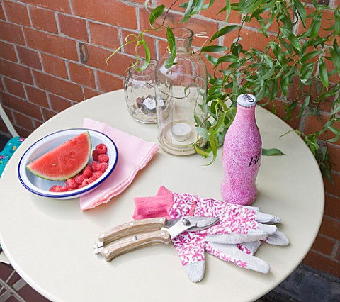 THE_BALCONY_GARDENER__ISABELLE_PALMER__CAFE_TABLE_WITH_WATERMELON__GLOVES_AND_COKE_BOTTLE