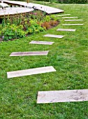 DECKING PROJECT - DESIGNER: CLARE MATTHEWS - STEPPING STONE PATH MADE WITH DECK BOARDS