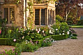 ASTHALL MANOR  OXFORDSHIRE: BOX HEDGING AND PEONIES AROUND THE FRONT OF THE HOUSE