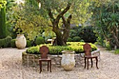 DESIGNER MICHEL SEMINI  PROVENCE  FRANCE: MAS THEO - OLIVE TREE WITH LOW STONE WALL IN GRAVEL COURTYARD - TERRACOTTA CONTAINERS AND METAL SEATS