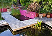 BARBARA KENNINGTON GARDEN  BRIGHTON: WEATHERED OAK BOARDWALK AROUND POOL WITH PINK RENDERED WALL  PHORMIUM AND PLEACHED PEAR TRES