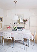 AMANDA KNOX HOUSE  GRANTHAM: THE DINING ROOM - WHITE WITH HINTS OF PINK - TABLE WITH OILCLOTH  TABLECLOTH  CHAIRS FROM IKEA