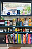 CHANTAL COADY HOUSE  LONDON: DETAIL OF SPICE SHELVES AND COOKBOOKS IN THE KITCHEN