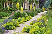 ASTHALL MANOR  OXFORDSHIRE: GRAVEL PATH AT FRONT OF HOUSE WITH ALCHEMILLA MOLLIS  VERBASCUM OLYMPICUM  LAVENDER  ROSES  GERANIUMS AND FOXGLOVES