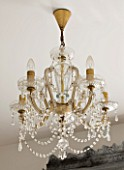 JACKY HOBBS HOUSE  LONDON: VINTAGE FRENCH GLASS CHANDELIER IN BEDROOM