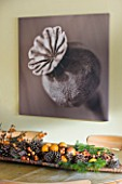 RICKYARD BARN HOUSE  OXFORDSHIRE: DESIGNERS JANE AND CLIVE NICHOLS. SEPIA TONE PHOTO CANVAS OF POPPY SEED HEAD BY CLIVE NICHOLS ON KITCHEN WALL WITH DRIED FRUIT DISPLAY ON TABLE