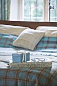 FULBROOK HOUSE: MASTER BEDROOM; BED WITH AQUA PLAID WOOL THROW FROM COTSWOLD WOOLLEN WEAVERS