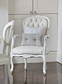 WHITE HOUSE: BREAKFAST ROOM: WHITE UPHOLSTERED  BUTTON BACK DINING CHAIR WITH CUSHIONS