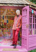 CHELSEA 2012 - KAFFE FASSETT PHOTOGRAPHED BY THE SHED DECORATED BY HIM WITH NEEDLEPOINT DESIGNS