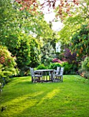GRANGE COURT  GUERNSEY: WOODEN TABLE AND CHAIRS ON THE LAWN WITH BRUGMANSIA SANGUINEA IN FLOWER ON THE RIGHT