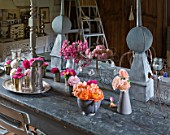 LES JARDINS DE ROQUELIN  LOIRE VALLEY  FRANCE: VINTAGE FARMHOUSE TABLE SET WITH ANCIENT ROSES AT THE FARMHOUSE