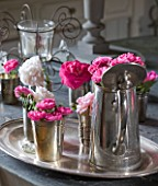 LES JARDINS DE ROQUELIN  LOIRE VALLEY  FRANCE: TRAY OF ROSES IN SILVERWARE - ROSE GRUSS AN AACHEN  ROSE BELLE DE REMALARD  ROSE FELICIA  ROSE HENRI MARTIN  ROSE COMPLICATA