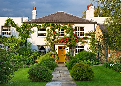 GIPSY_HOUSE__BUCKINGHAMSHIRE_THE_BACK_OF_THE_HOUSE_WITH_STONE_PATH__CLIPPED_YEW_TOPIARY_BALLS_AND_RO