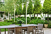 THE GLASS HOUSE  PETERSHAM. ARCHITECTS TERRY FARRELL PARTNERS. GARDEN DESIGN BY SALLIS CHANDLER: VIEW ACROSS TABLE AND CHAIRS TO BETULA JACQUEMONTII  LAWN AND CLIPPED BAYS