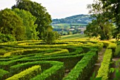 PAINSWICK ROCOCO GARDEN  GLOUCESTERSHIRE: THE ANNIVERSARY MAZE PLANTED IN 2000 TO CELEBRATE THE 250TH BIRTHDAY OF THE GARDEN