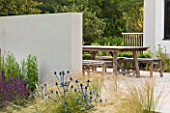 DEW POND HOUSE: DESIGN BY WILSON MCWILLIAM STUDIO - MAIN TERRACE/PATIO - TABLE & CHAIRS  RENDERED WALL  PALE SANDSTONE PAVING. ERYNGIUM ALPINUM BLUE STAR  STIPA TENUISSIMA