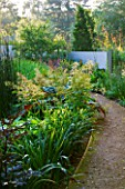 DEW POND HOUSE: DESIGN BY WILSON MCWILLIAM STUDIO - PATH WITH CIMICIFUGA SIMPLEX BRUNETTE  HEMEROCALLSI WHITE TEMPTATION  IRIS SNOW QUEEN  ARUNCUS DIOICUS ZWEIWELTENKIND
