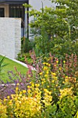 DEW POND HOUSE: DESIGN BY WILSON MCWILLIAM STUDIO - BORDER WITH OENOTHERA ODORATA SULPHUREA  NEPETA SIX HILLS GIANT  AGASTACHE MEXICANA SANGRIA