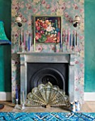 VELVET ECCENTRIC: NEW COUNTRY LOOK - PERSIAN GREEN GLAZED WALLS  FIREPLACE BY RACHEL BERGER WITH ANTIQUE SILVER LEAF  ANNA FRENCH WALLPAPER AND VINTAGE CRYSTAL CANDLE HOLDERS