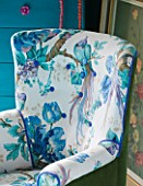 VELVET ECCENTRIC: MARGOT - CHAIR DESIGNED BY VELVET ECCENTRIC - OLIVE COLOURED VINTAGE VELVET AND A CHARMING SANDERSON PATTERNED LINEN WITH BIRD OF PARADISE AND PURPLE PIPING