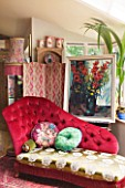 VELVET ECCENTRIC: THE GARDEN ROOM - RUBY IS VELVET ECCENTRIC DESIGNED CHAISE LONGUE. VINTAGE FLORAL OIL PAINTING  1930S FABRIC COVERED SCREEN.