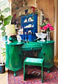 VELVET ECCENTRIC: THE GARDEN ROOM - EVELYN IS A SUPERB ART DECO DRESSING TABLE WITH CIRCULAR MIRROR AND BESPOKE STOOL. EMERALD GREEN GLAZES AND STENCILLING BY RACHEL BERGER
