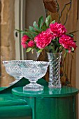 VELVET ECCENTRIC: THE GARDEN ROOM - EVELYN  ART DECO DRESSING TABLE WITH EMERALD GREEN GLAZES AND STENCILLING BY RACHEL BERGER. ANTIQUE CRYSTAL FRUIT BOWL AND VASE
