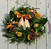 THE GARDEN AND PLANT COMPANY  HATHEROP  GLOUCESTERSHIRE: FIR WREATH DECORATED WITH HOLLY  ROSEMARY  DRIED ORANGES  PINE CONES  CINNAMON STICKS AND CHILLI PEPPERS