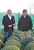 CROCUS NURSERY  SURREY: ARNE MAYNARD AND CROCUS CO- DIRECTOR MARK FANE TALKING AT THE NURSERY BEFORE THE CHELSEA FLOWER SHOW 2012