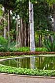 THE JARDIN DE ACLIMATACION DE LA OROTAVA  TENERIFE  CANARY ISLANDS: POOL SURROUNDED BY PALM - LEPIDOZAMIA PEROFFSKYANA AND TRUNK OF ARTOCARPUS ALTILIS