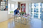 SHELLEY VON STRUNCKEL APARTMENT  LONDON: DINING AREA WITH TWO HABITAT TABLES PUSHED TOGETHER TO FORM A SQUARE