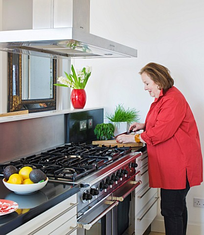 SHELLEY_VON_STRUNCKEL_APARTMENT__LONDON_SHELLEY_IN_HER_KITCHEN_AREA_WITH_A_FALCON_COOKER