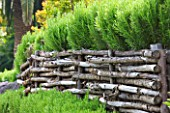 DESIGNER JAMES BASSON, SCAPE DESIGN, FRANCE: LOW WOODEN WOVEN FENCE WITH ROSEMARY - PROVENCE, HEDGE, HEDGING, FENCING, FENCED, DRY, DROUGHT TOLERANT