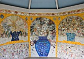 TRESCO ABBEY GARDEN  TRESCO   ISLES OF SCILLY: SHELL MOSAIC IN THE SHELL HOUSE BY LUCY DORRIEN-SMITH