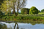 GLYNDEBOURNE, EAST SUSSEX: VIEW ACROSS LAKE TO THE COUNTRYSIDE BEYOND - WATER, POOL, TRANQUIL, PEACEFUL, COUNTRY GARDEN, LANDSCAPE