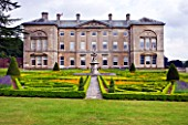 SLEDMERE HOUSE GARDEN, YORKSHIRE: SLEDMERE HOUSE WITH ITS ITALIANATE PARTERRE - CLASSIC, COUNTRY GARDEN, SUMMER, AUGUST, FORMAL, CLIPPED, TRIMMED, TOPIARY, BOX