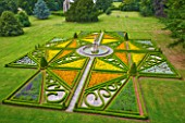SLEDMERE HOUSE GARDEN, YORKSHIRE: VIEW ONTO ITALIANATE PARTERRE FROM HOUSE WITH MARIGOLDS - CLASSIC, COUNTRY GARDEN, SUMMER, AUGUST, FORMAL, CLIPPED, TRIMMED, TOPIARY, BOX
