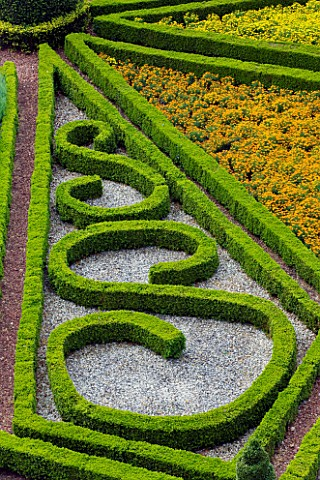 SLEDMERE_HOUSE_GARDEN_YORKSHIRE_VIEW_ONTO_ITALIANATE_PARTERRE_FROM_HOUSE_WITH_MARIGOLDS__CLASSIC_COU