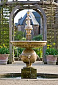 ARUNDEL CASTLE GARDENS  WEST SUSSEX: OAK PERGOLA AND FOUNTAIN - DESIGNED BY JULIAN AND ISABEL BANNERMAN