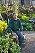 ARUNDEL CASTLE  WEST SUSSEX - HEAD GARDENER MARTIN DUNCAN IN THE STUMPERY