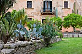 SICILY  ITALY: LA CASE BIVIERE NEAR LENTINI - STONE PORT JETTY PLANTED WITH VARIETY OF SUCCULENTS INCLUDING MYRTILLOCACTUS GEOMETRIZANS( LEFT) WITH MAIN HOUSE FAÇADE AND CACTI