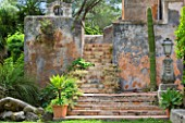 SICILY  ITALY: LA CASE BIVIERE NEAR LENTINI - STEPS LEADING UP TO THE OLD PORT BELL TOWER