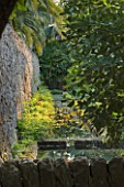 SICILY  ITALY: SAN GIULIANO ESTATE: A CASCADING STONE WATERWAY FEEDS WATER DRAWN FROM A DEEP WELL INTO THE ARABIC GARDEN