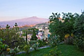 SICILY  ITALY: CASA CUSENI IN TAORMINA - AMAZING EARLY MORNING VIEW OF ETNA FROM ONE OF THE TERRACES