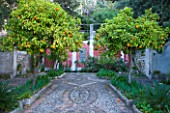 SICILY  ITALY: CASA CUSENI IN TAORMINA - UPPER TERRACE WITH PEBBLEWORK MOSAIC  ORANGE TREES  IRISES AND A RECTANGUALR POOL FILLED WITH PAPYRUS   ANCIENT SICILIAN AND TURKISH TILES